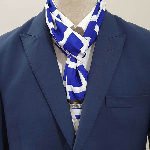 Blue & White Boxed Scarf