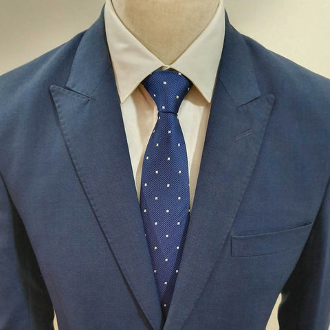 Blue White Diamond Neck Tie