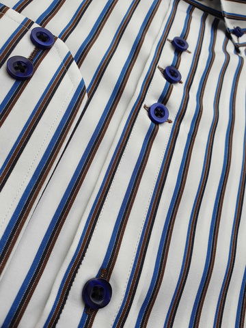 Blue & White Lining Cotton Shirt