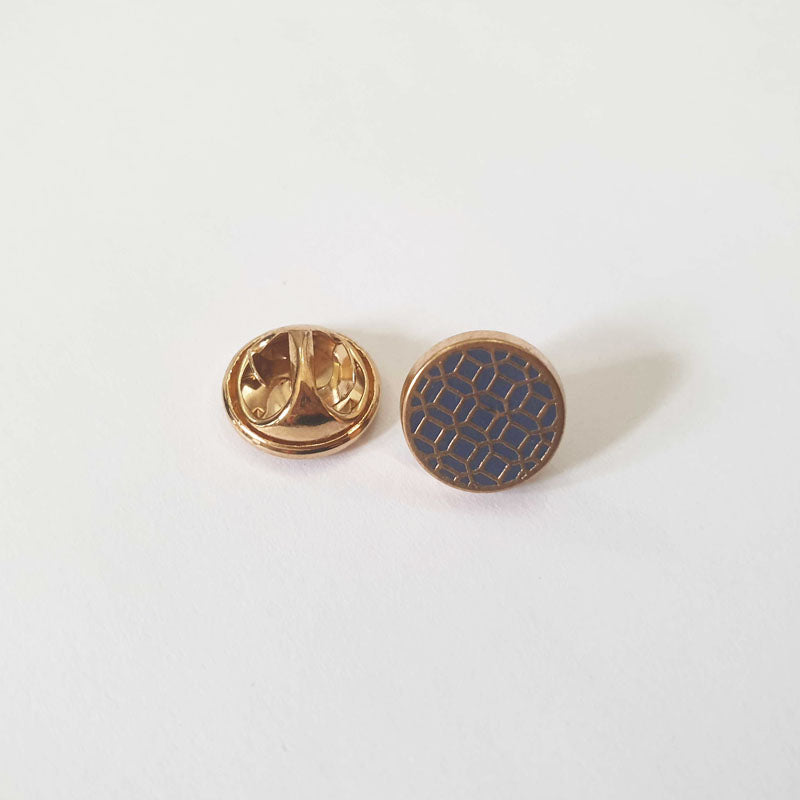 Blue and Gold Pattern Lapel Button