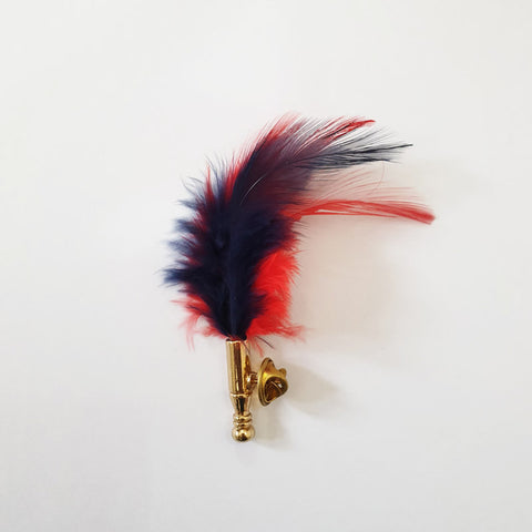 Blue and Red Smooth Feather Lapel Pin