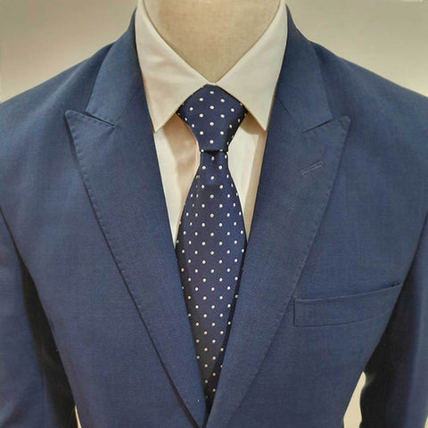 Blue with White Polka Dots Neck Tie