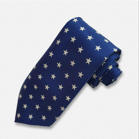 Blue with White Shinny Star Neck Tie