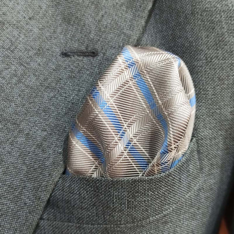 Blue and Silver Herringbone Pocket Square