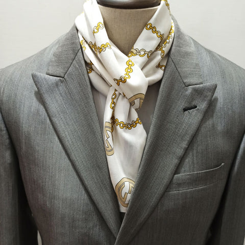 Branded Golden Chain Linen Scarf