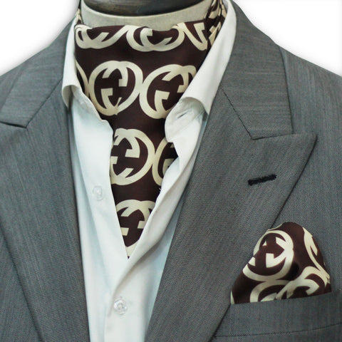 Brown Branded Silk Cravat Set