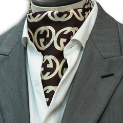 Brown Branded Silk Cravat