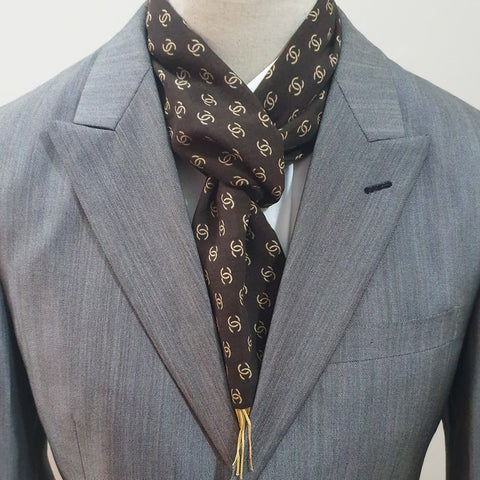 Brown Branded Linen Scarf