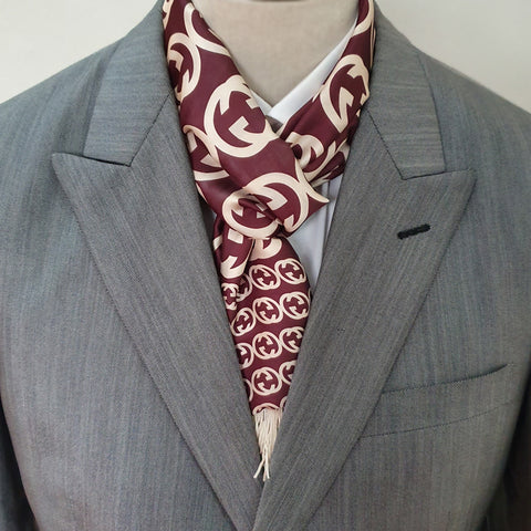 Brown Branded Silk Scarf