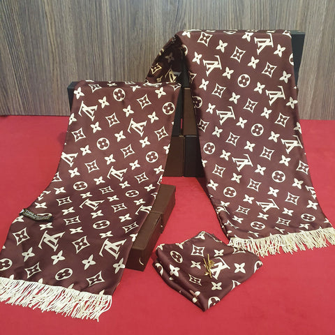 Brown Branded Silk Scarf Set
