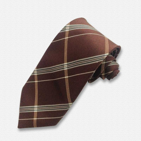 Brown & White Plaids Neck Tie