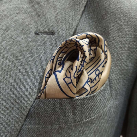 CARAMEL BLUE PAISLEY SILK POCKET SQUARE