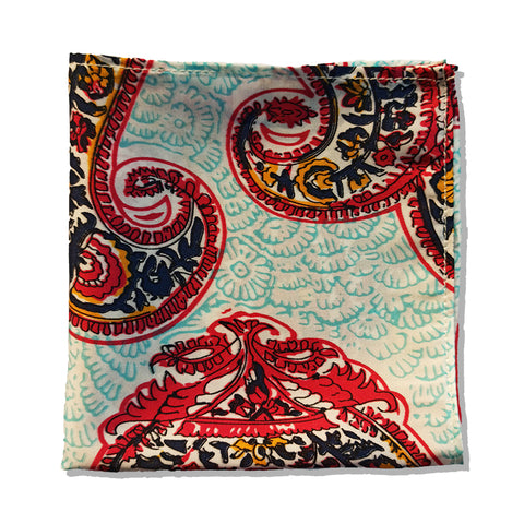 CLASSIC BLUE AND GREEN PAISLEY SILK POCKET SQUARE