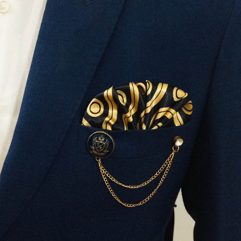 Chain Lapel Pin Plus Pocket Square Set