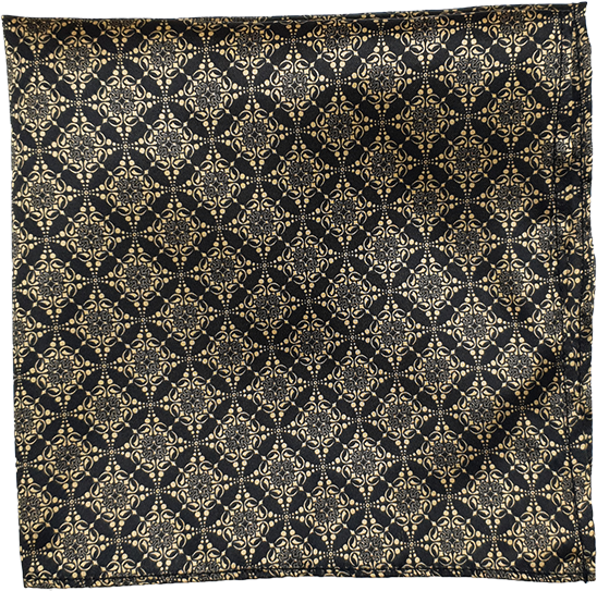 Classic Floral Gold & Black Pocket Square