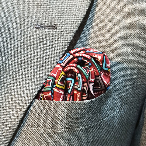 DIGITAL MAZE SILK POCKET SQUARE
