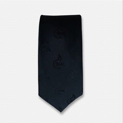 Dark Blue Floral Pattern Silk Neck Tie