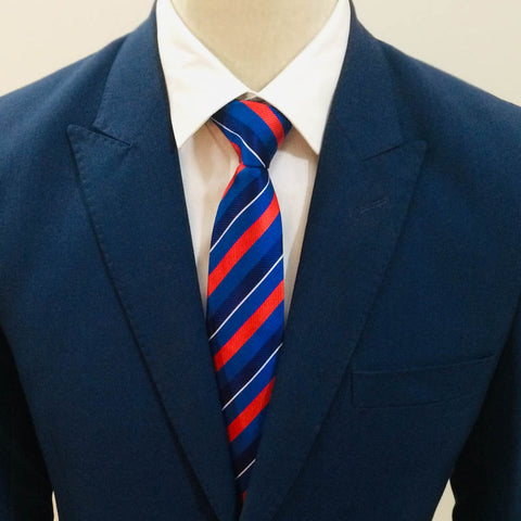Electric Red & Blue Striped Neck Tie