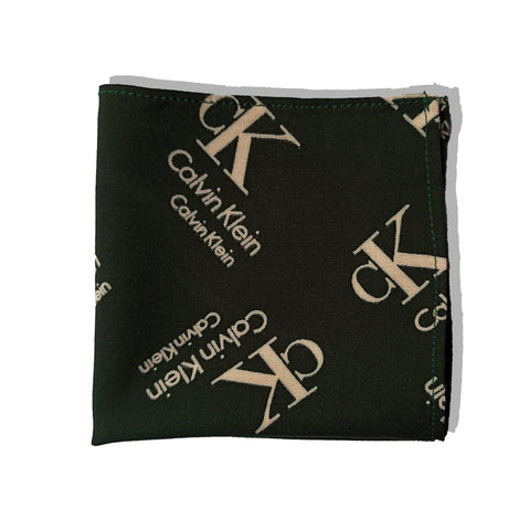 GREEN BRANDED LINEN POCKET SQUARE