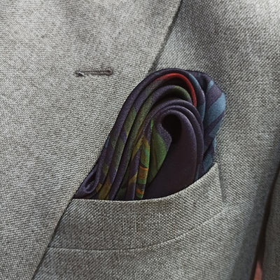 Garden Green Silk Pocket Square