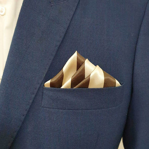 Glossy Brown Stripes Pocket Square
