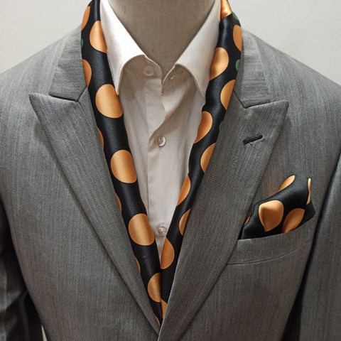 Gold and Black Polka Dots Silk Scarf Set