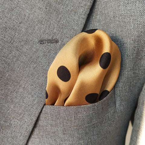 Golden With Black Polka Dots Silk Pocket Square