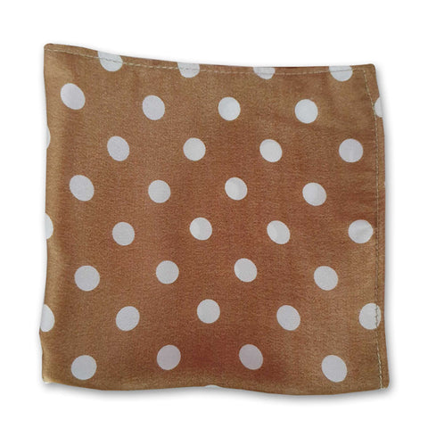 Golden & White Polka Dot Silk Pocket Square