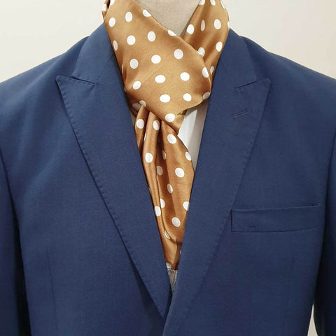 Golden n White Polka Dot Silk Scarf