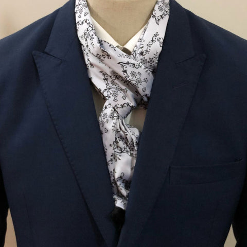 Gray Flower Embroidery Scarf