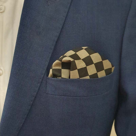 Gray and Black Boxed Cotton Pocket Square