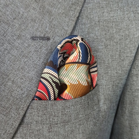 Italian Blue Paisley Silk Pocket Square