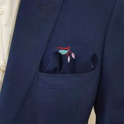 Leafy Blue Linen Pocket Square