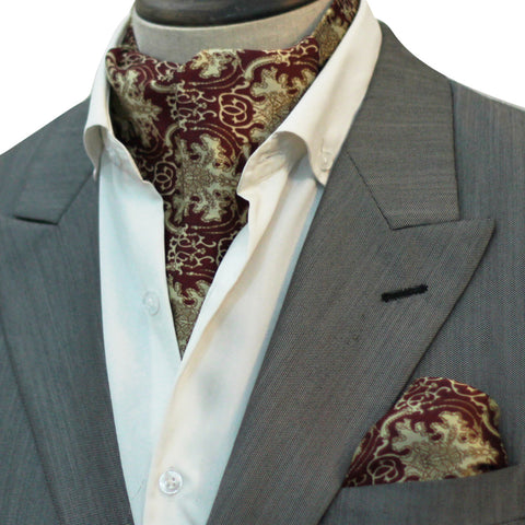 MAROON CHANDLER CRAVAT SET