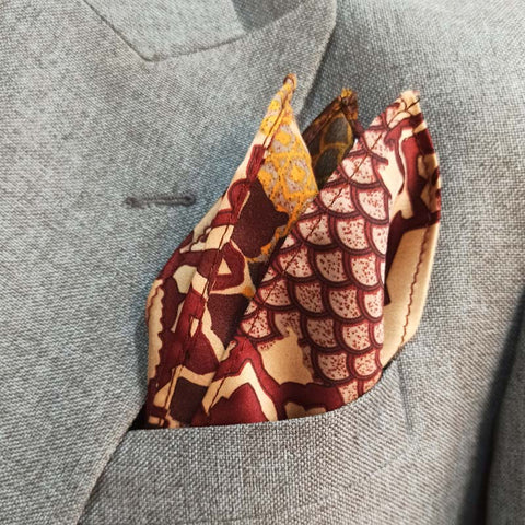 MAROON & GOLD SILK POCKET SQUARE