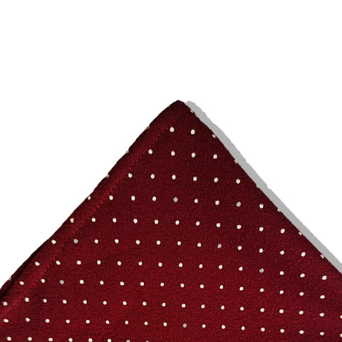 MAROON & WHITE POLKA DOTS POCKET SQUARE