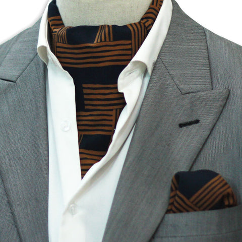 MUSTARD STRIPED PATTERN CRAVAT SET