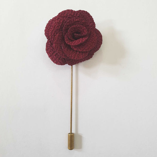 Maroon Fabric Flower Lapel Pin