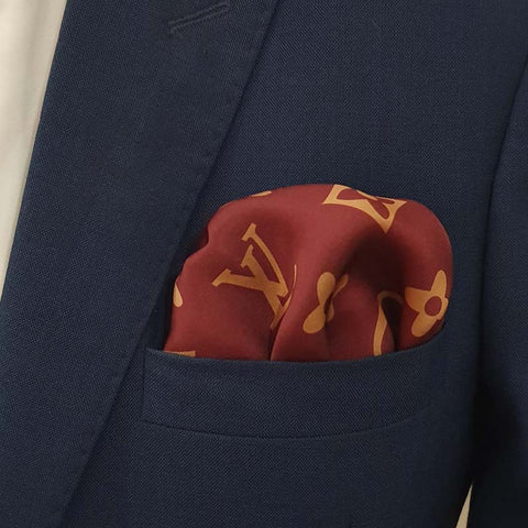Maroon & Rose Gold LV Pocket Square