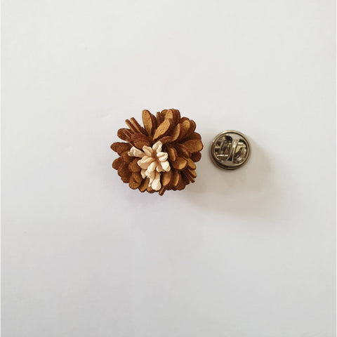 Mini Daisy Brown Flower lapel Pin