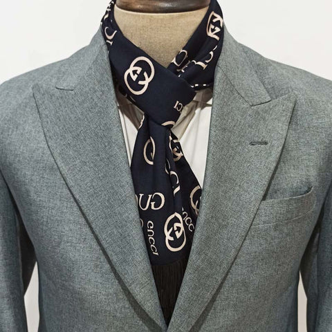 Navy Blue Gucci Linen Scarf