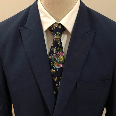 Navy Blue Floral Neck Tie