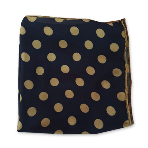 Navy Blue & Golden Polka Dot Pocket Square