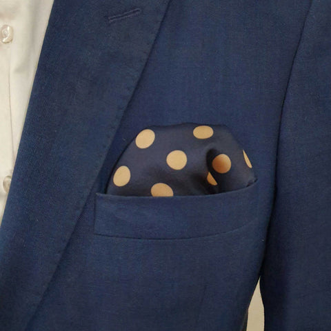 Navy Blue & Golden Polka Dots Pocket Square