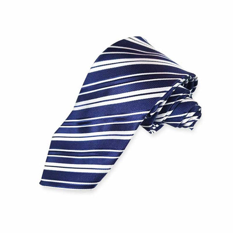Navy Blue & Multi Silver Stripes
