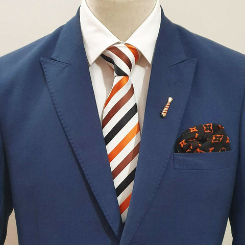 Orange & Brown Striped Tie Set