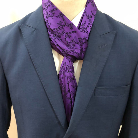 Purple Flower Embroidery Scarf