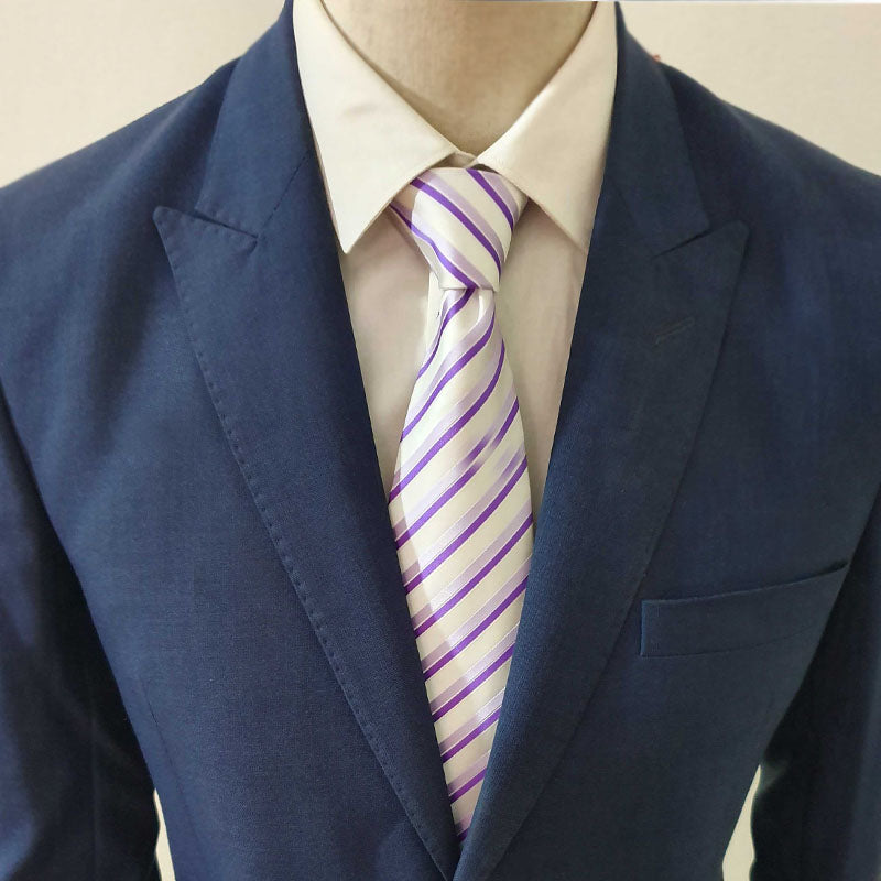 Purple & White Striped Neck Tie
