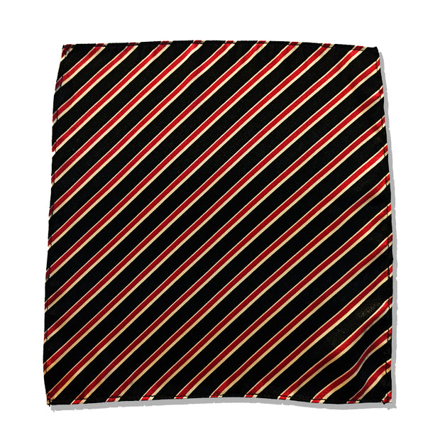 RED AND BLACK STRIPED SILK POCKET SQUARE