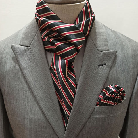 RED AND BLACK STRIPED SILK SCARF SET